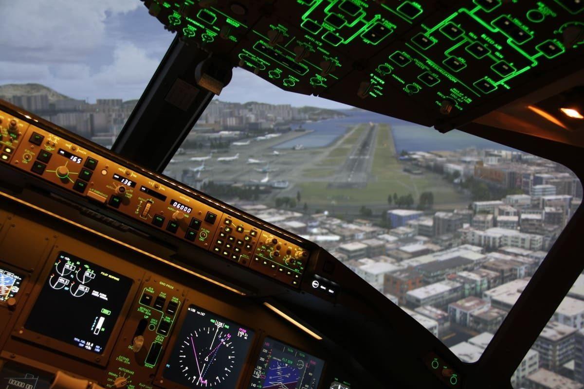 Atterrissage sur un aéroport en simulateur de vol Skyway Simulation